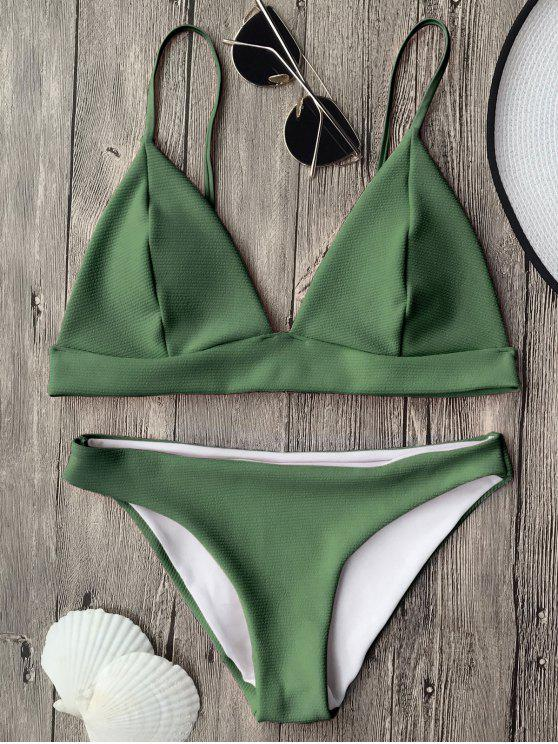 outfit Cami Plunge Bralette Bikini Top and Bottoms - GREEN M