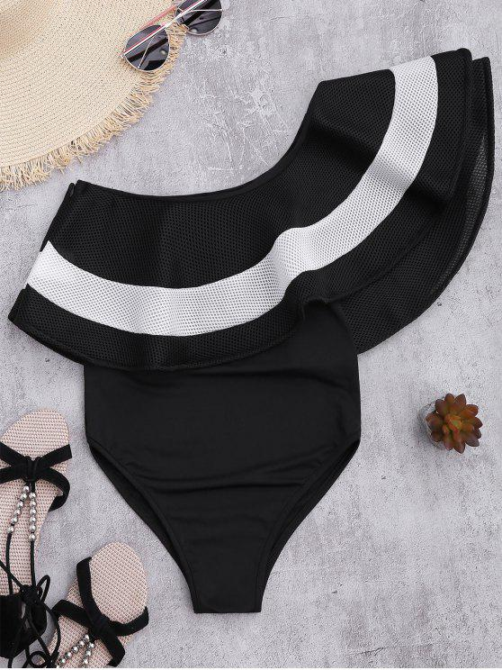 Contrast Ruffle Overlay One Piece Swimsuit - Black M