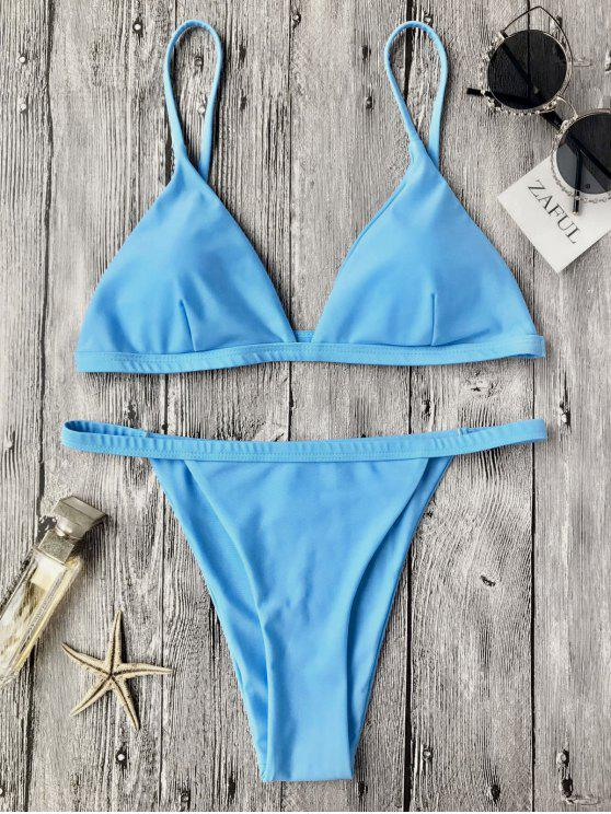 Bañador de bikini de tirantes de talle bajo - Azul XL