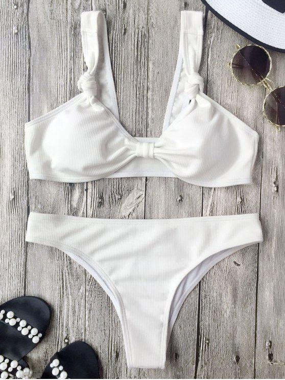 best Ribbed Knotted Bowknot Bathing Suit - WHITE S