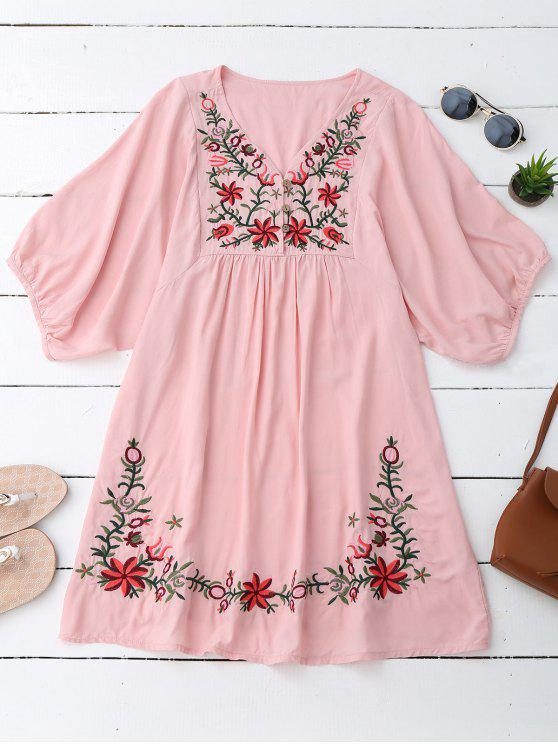 ladies Floral Embroidered V Neck Peasant Dress - PINK ONE SIZE