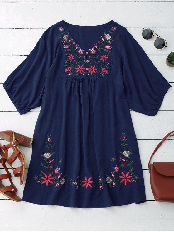 best Floral Embroidered V Neck Peasant Dress - PURPLISH BLUE ONE SIZE