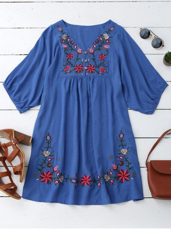 Vestido de Campesino con Cuello en V con Bordado Floral - Azul Única Talla