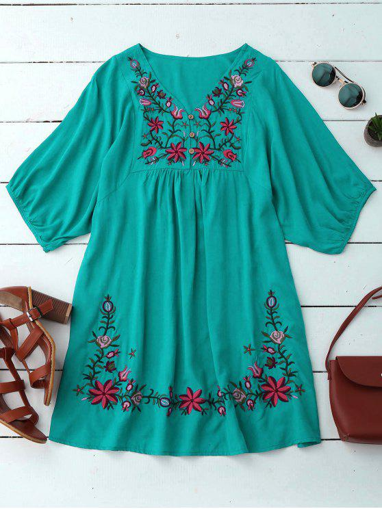 outfit Floral Embroidered V Neck Peasant Dress - PANTONE TURQUOISE ONE SIZE