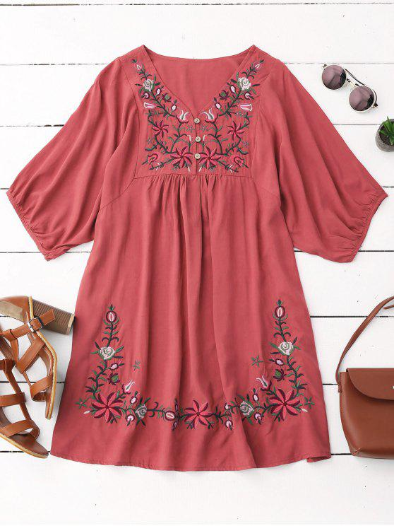 shops Floral Embroidered V Neck Peasant Dress - WATERMELON RED ONE SIZE