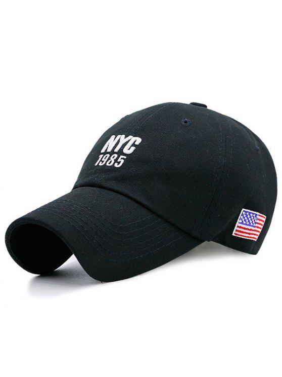 خطابات العلم الأمريكي التطريز قبعة بيسبول - أسود