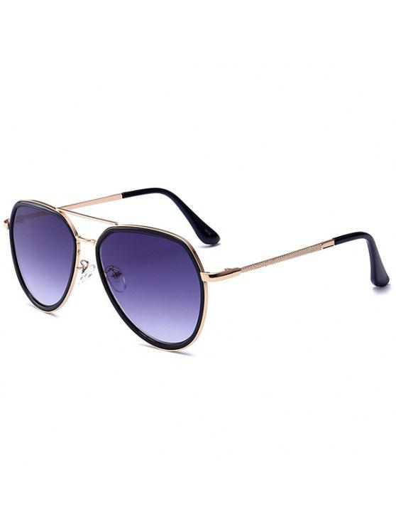 467d25443eb UV Protection Double Metal Crossbar Polit Sunglasses - Gold Frame+grey Lens