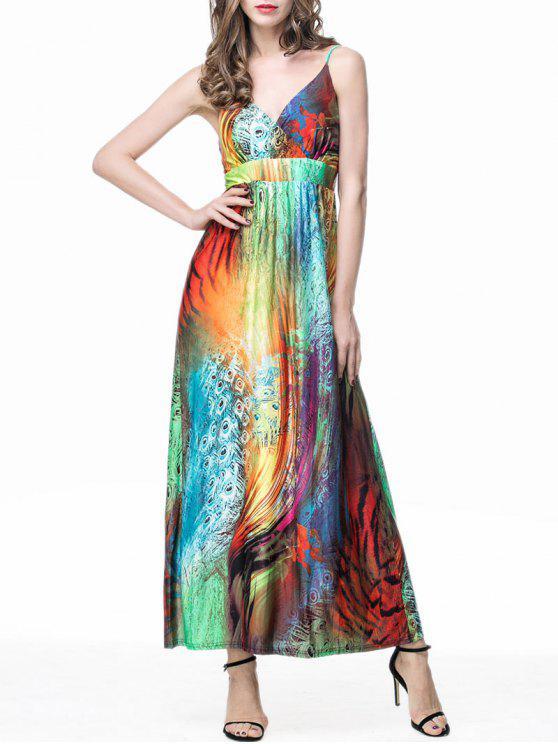 ريشة طباعة الإمبراطورية الخصر فستان ماكسي زلة - Colormix 2XL