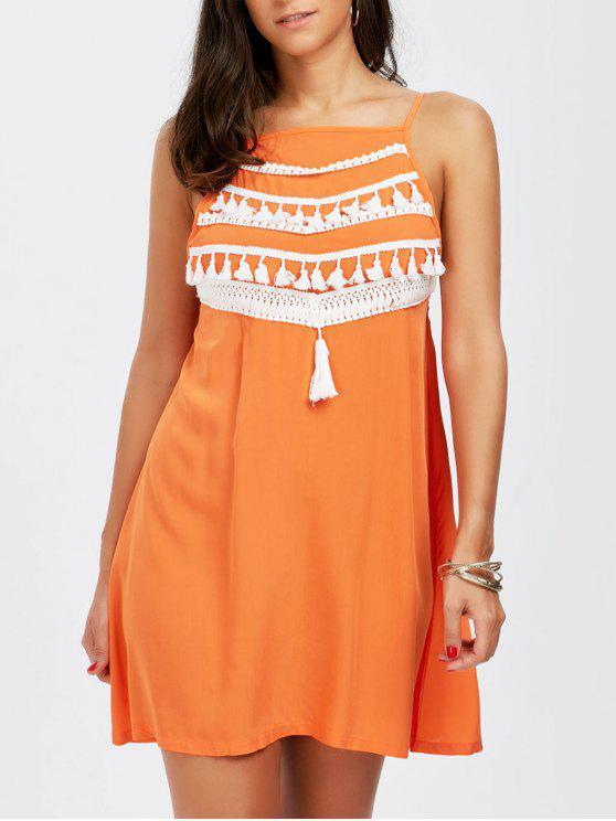 السباغيتي حزام شرابة اللباس - البرتقالي M