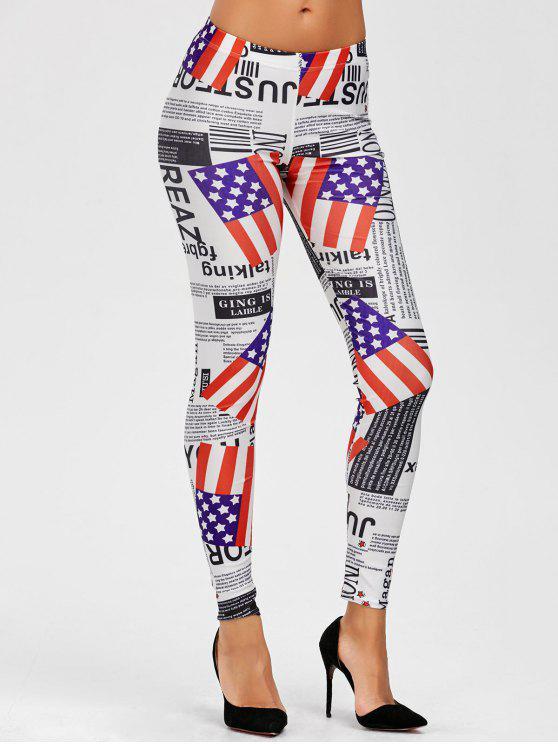 العلم الأمريكي منتصف الخصر طماق - Colormix حجم واحد