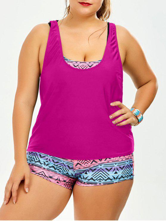 Costume Da Bagno Plus Size Imbottito Stampato Con Lacci - rosa di robbia 4XL