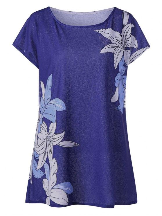 بلوزة تونيك بطبعة أزهار ذات مقاس كبير - أزرق 4XL