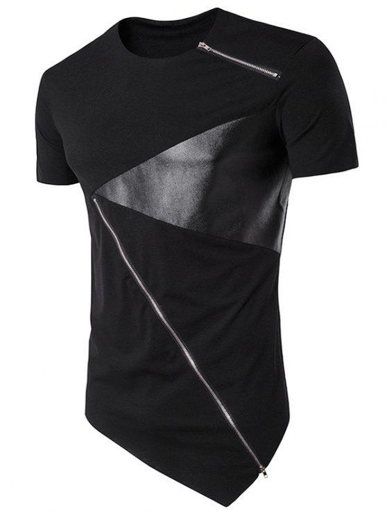السوستة تصميم بو الجلود لوحة غير متناظرة تي شيرت - أسود M