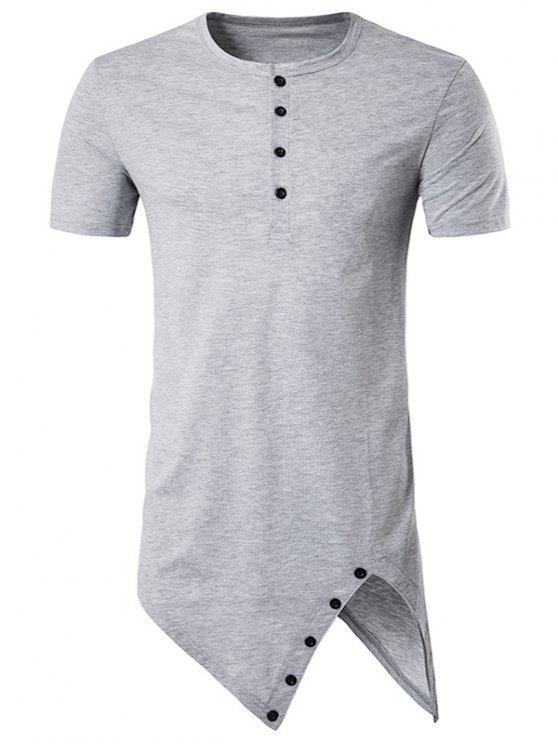 6d5e3d82a4c8 Henley Collar Asymmetrical Cutting And Button Design Longline T-Shirt -  Gray L