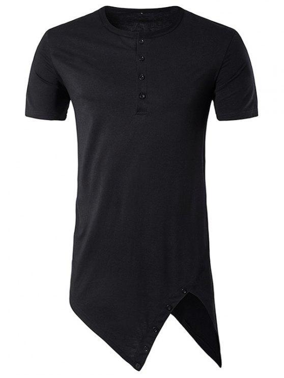 4597744241e4 Henley Collar Asymmetrical Cutting And Button Design Longline T-Shirt -  Black L