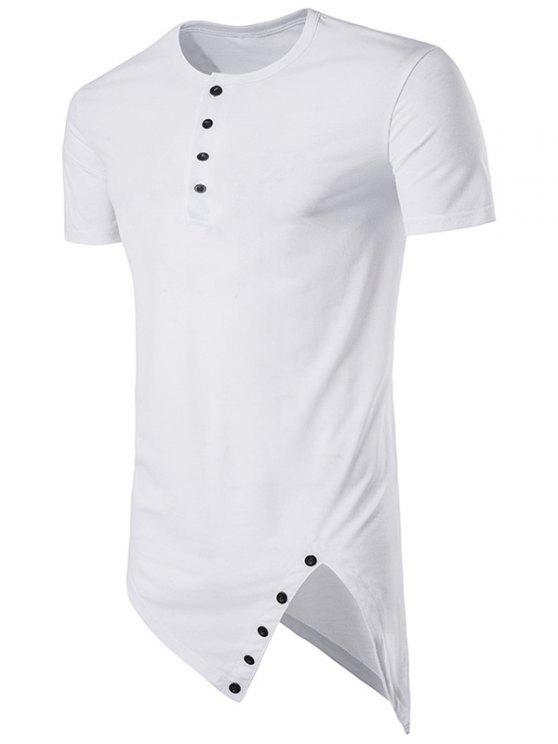 fd9ed6b747de Henley Collar Asymmetrical Cutting And Button Design Longline T-Shirt -  White L