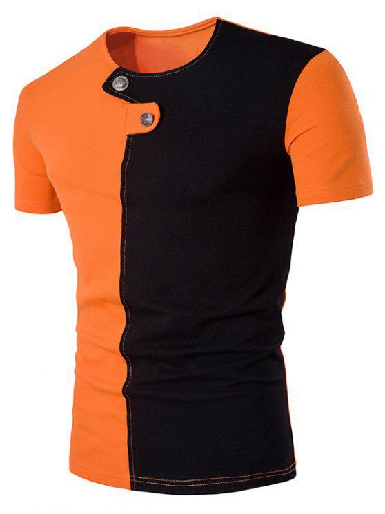 طاقم الرقبة لوحة كتلة اللون زر مزين تي شيرت - البرتقالي زل