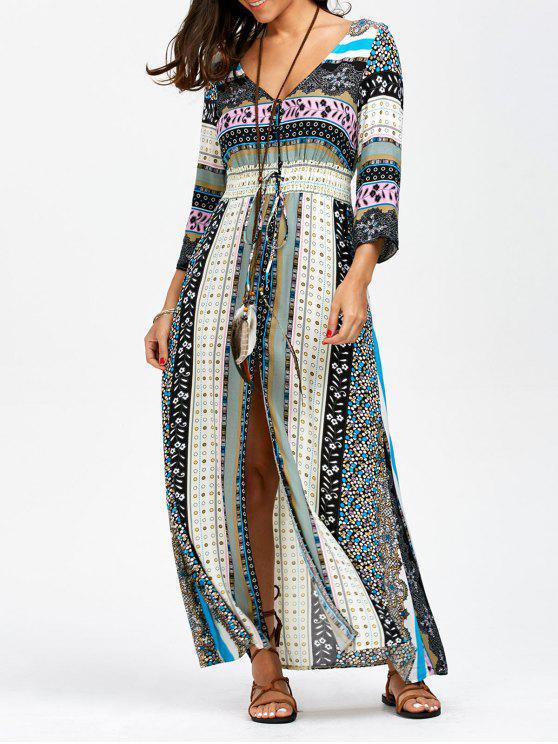 Elastische Reich Taille Button Up Maxi Kleid - Meeresblau S