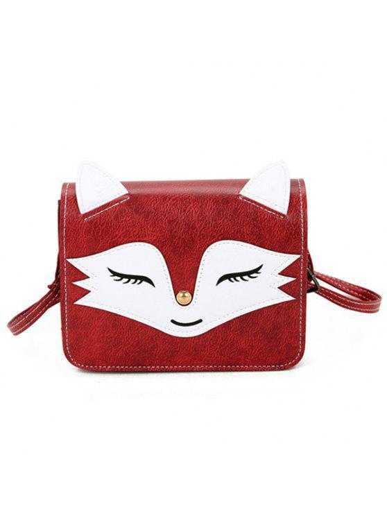 فوكس نمط البسيطة حقيبة كروسبودي - أحمر