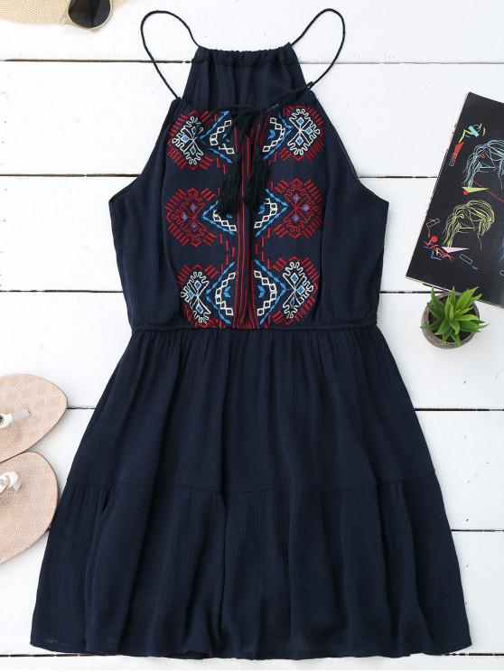 shops Embroidered Tassel Sundress - PURPLISH BLUE ONE SIZE