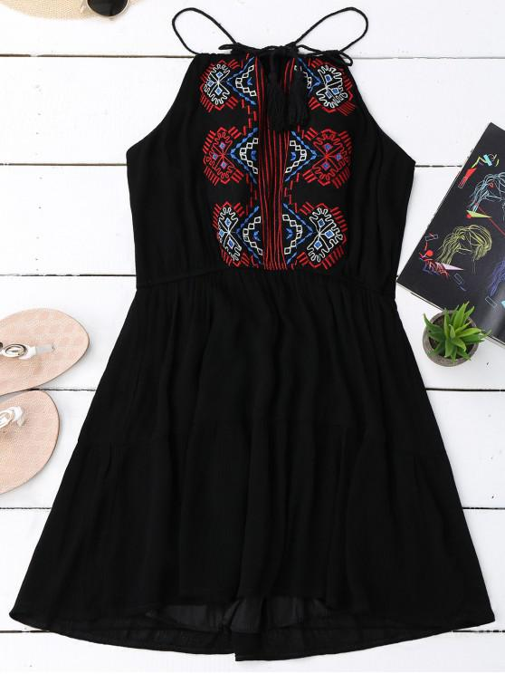 b8a5e1f0ef37 23% OFF] 2019 Embroidered Tassel Sundress In BLACK | ZAFUL