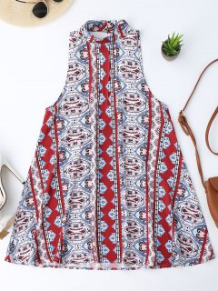 Backless Printed Tunic Dress - S