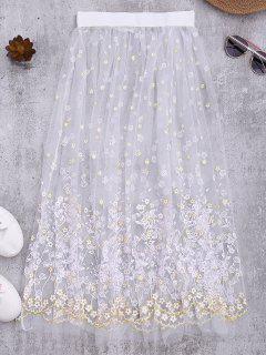 Floral Sheer Tulle Beach Cover Up Skirt - White