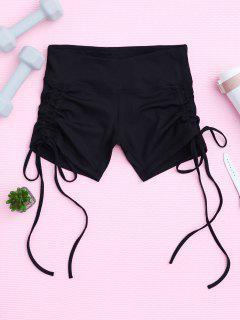 Side Drawstring Sporty Shorts - Black S