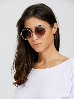 Wavy Metallic Frame Leg Ombre Round Sunglasses - Tea-colored