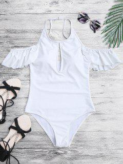 Alto Cuello Frilly Slimming Traje De Baño De Una Pieza - Blanco S