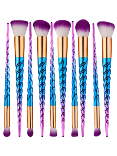 10Pcs Ombre Thread Unicorn Makeup Brushes Set - Blue And Red