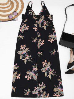 Straps Floral Wide Leg Jumpsuit - Black L