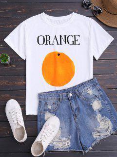 Camiseta De Impresión Naranja De Manga Corta - Blanco