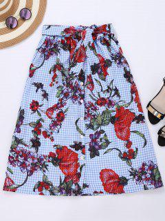 Falda Floral Con Cuadros - Comprobado S