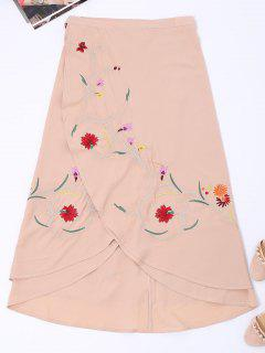 Asymmetric Floral Embroidered Wrap Skirt - Nude Pink L