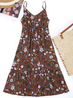 Cami Floral Empire Waist Holiday Dress - Dark Auburn L