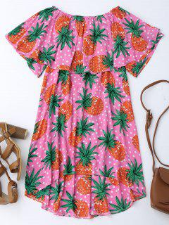 Ruffle Off Shoulder Pineapple Dress - Tutti Frutti 2xl