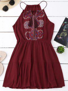 Embroidered Tassel Sundress - Wine Red