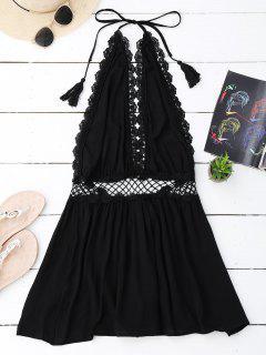 Halter Crochet Panel Backless Romper - Black S