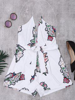 Elastic Straps Backless Floral Romper - White L