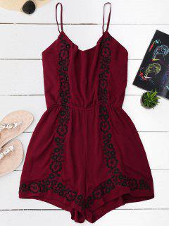 Cami Floral Embroidered Romper - Wine Red