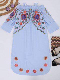 Vestido Con Manga Acampanada Con Bordado Floral Con Tirante Fino - Azul Claro M
