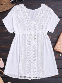 Vestido De Playa De Escote Pico Con Panel De Encaje De Ganchillo - Blanco