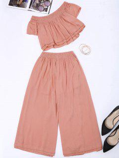 Off Shoulder Top And Wide Leg Capri Pants - Papaya L