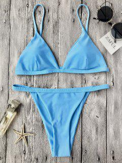 Low Waisted Spaghetti Strap Bikini Swimwear - Blue L