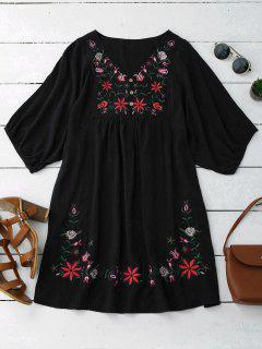 Floral Embroidered V Neck Peasant Dress - Black