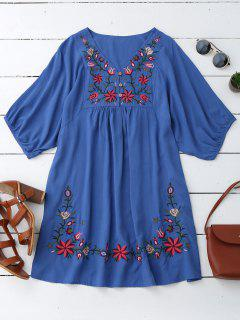Floral Embroidered V Neck Peasant Dress - Blue