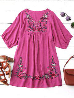 Robe Pastorale Col V Avec Broderie Florale - Rose