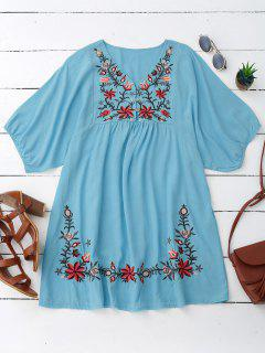 Floral Embroidered V Neck Peasant Dress - Lake Blue