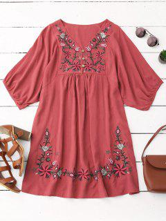 Floral Embroidered V Neck Peasant Dress - Watermelon Red